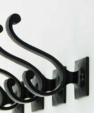 Vintage Cast Iron Wall Hooks Black Finish Set Of 4 Rustic Farmhouse Coat Hooks Great For Coats Bags Towels Hats Vintage Scroll 0 1 300x360