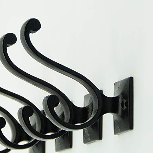Vintage Cast Iron Wall Hooks Black Finish Set Of 4 Rustic Farmhouse Coat Hooks Great For Coats Bags Towels Hats Vintage Scroll 0 1