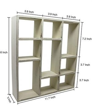 Vintage Rustic Torched Wood Rustic Freestanding Wall Mountable Shadow Box Display Frame With 9 Compartments Wooden FarmhouseWhite Washed Home Decor Picture Shelf For Kitchen Bedrooms Bathroom 0 0 300x360