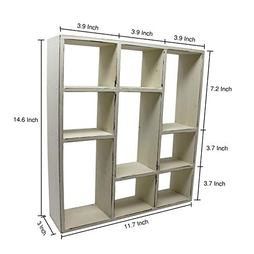 Vintage Rustic Torched Wood Rustic Freestanding Wall Mountable Shadow Box Display Frame With 9 Compartments Wooden FarmhouseWhite Washed Home Decor Picture Shelf For Kitchen Bedrooms Bathroom 0 0