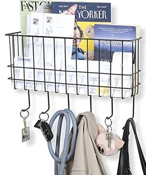 WALL35 Sicily Key And Mail Holder For Wall Metal Coat Rack Wall Mounted Wire Basket Entryway Organizer Dog Leash Purse Mail Holder With Key Hooks Black 0 300x360