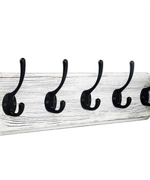 WEBI Coat Rack Wall MountedCoat Hanger Wall16 Hole To HoleWood Coat Hooks Wall MountedHook Rack Rail5 Hooks For Hanging CoatsHatsJacketClothesEntrywayWhite 0 300x360