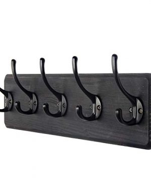 WEBI Coat Rack Wall MountedCoat Hanger Wall16 Hole To HoleWood Coat Hooks Wall MountedHook Rack5 Hooks For Hanging CoatsHatsJacketClothesEntrywayBlack 0 300x360