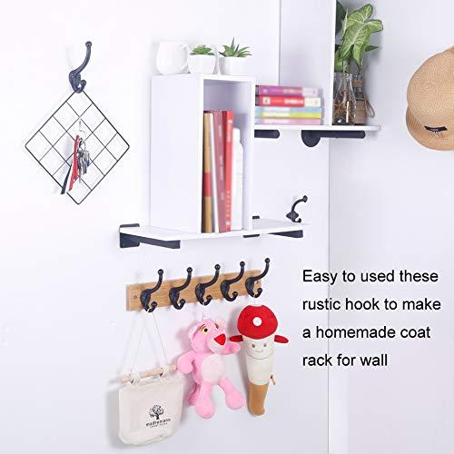 WEBI Rustic Coat HooksCast IronVintage Farmhouse Wall Hooks For Hanging TowelRobeMudroomClosetBlack5 Packs 0 1