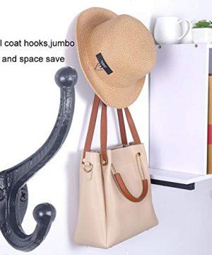 WEBI Rustic Coat HooksCast IronVintage Farmhouse Wall Hooks For Hanging TowelRobeMudroomClosetBlack5 Packs 0 2 300x360