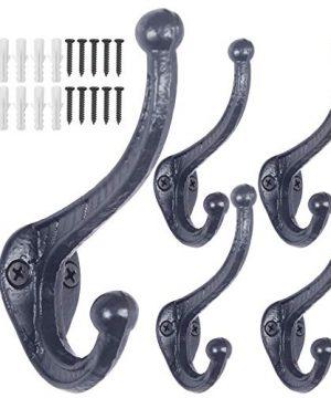 WEBI Rustic Coat HooksCast IronVintage Farmhouse Wall Hooks For Hanging TowelRobeMudroomClosetBlack5 Packs 0 300x360