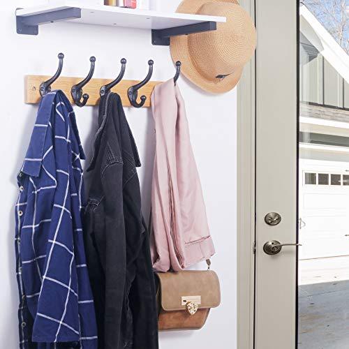 WEBI Rustic Coat HooksCast IronVintage Farmhouse Wall Hooks For Hanging TowelRobeMudroomClosetBlack5 Packs 0 4