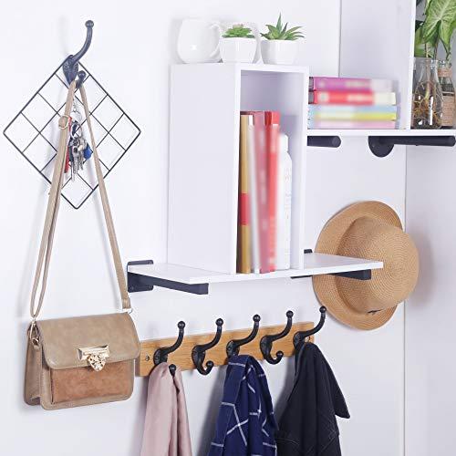 WEBI Rustic Coat HooksCast IronVintage Farmhouse Wall Hooks For Hanging TowelRobeMudroomClosetBlack5 Packs 0 5