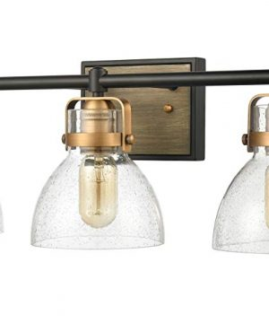 WILDSOUL 40063BK Modern Farmhouse 3 Light Bathroom Vanity Light LED Compatible Rustic Vintage Oak Wood Glass Wall Sconce Bath Fixture Matte Black And Antique Brass With Seeded Glass 0 1 300x360