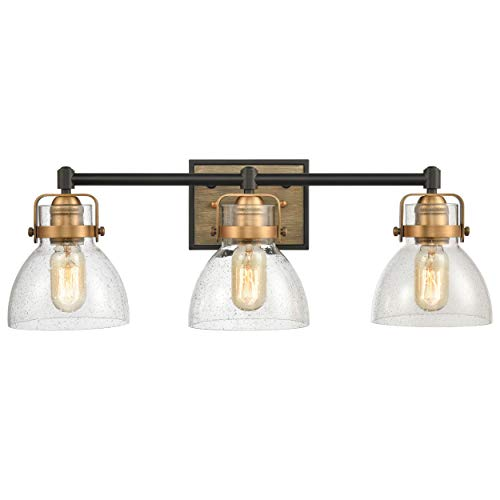 WILDSOUL 40063BK Modern Farmhouse 3 Light Bathroom Vanity Light LED Compatible Rustic Vintage Oak Wood Glass Wall Sconce Bath Fixture Matte Black And Antique Brass With Seeded Glass 0