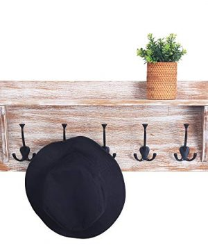 WILSHINE 24 Wall Shelf With 5 Triple Hooks Coat Rack Wall Mounted For Entryway Bathroom Distressed White 0 0 300x360