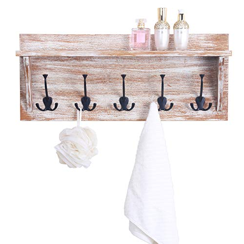 WILSHINE 24 Wall Shelf With 5 Triple Hooks Coat Rack Wall Mounted For Entryway Bathroom Distressed White 0 1