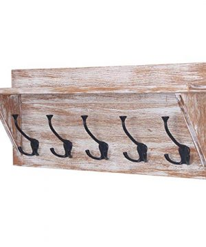 WILSHINE 24 Wall Shelf With 5 Triple Hooks Coat Rack Wall Mounted For Entryway Bathroom Distressed White 0 300x360