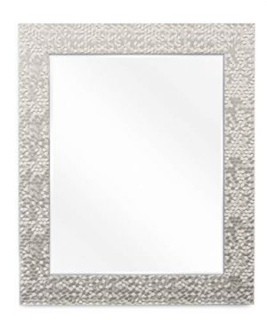 Wall Beveled Mirror Framed Bedroom Or Bathroom Rectangular Frame Hangs Horizontal Vertical By EcoHome 27x33 Brushed Nickel 0 300x360