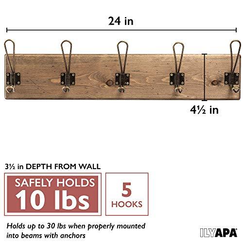 Wall Mounted Coat Rack Rustic Wooden 5 Hook Coat Hanger Rail Distressed Wood Antique Brass Hooks 0 0