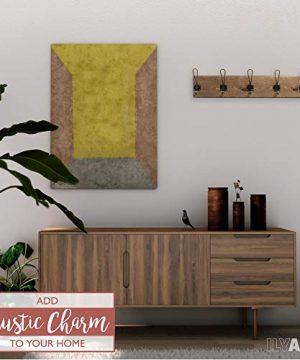 Wall Mounted Coat Rack Rustic Wooden 5 Hook Coat Hanger Rail Distressed Wood Antique Brass Hooks 0 3 300x360