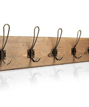 Wall Mounted Coat Rack Rustic Wooden 5 Hook Coat Hanger Rail Distressed Wood Antique Brass Hooks 0 300x360