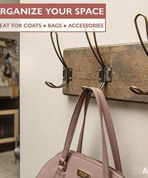 Wall Mounted Coat Rack Rustic Wooden 5 Hook Coat Hanger Rail Distressed Wood Antique Brass Hooks 0 4 300x360