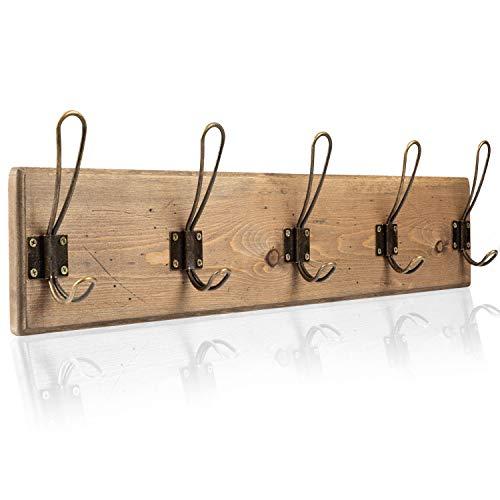 Wall Mounted Coat Rack Rustic Wooden 5 Hook Coat Hanger Rail Distressed Wood Antique Brass Hooks 0