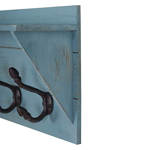 Wall Mounted Coat Rack Shelf With 5 Rustic Hooks Wood Perfect Touch For Your Entryway Mudroom Kitchen Bathroom And More Set Of 2 0 1