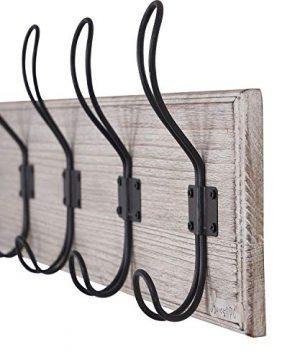 Wall Mounted Coat Rack Wooden Entryway Vintage Rustic Coat Rack Hat Hanger Rack 5 Hook Rail For The Entryway Bathroom Bedroom Kitchen Mudroom Solid Wood Set Of 2 0 2 300x360