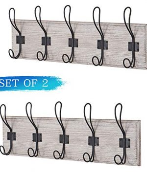 Wall Mounted Coat Rack Wooden Entryway Vintage Rustic Coat Rack Hat Hanger Rack 5 Hook Rail For The Entryway Bathroom Bedroom Kitchen Mudroom Solid Wood Set Of 2 0 300x360