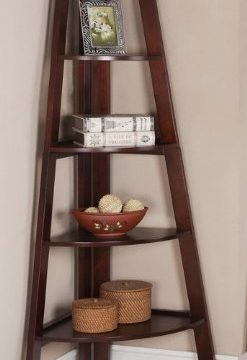 Walnut Finish 5 Tier Corner Display Unit Shelf Rack F04038 0 247x360