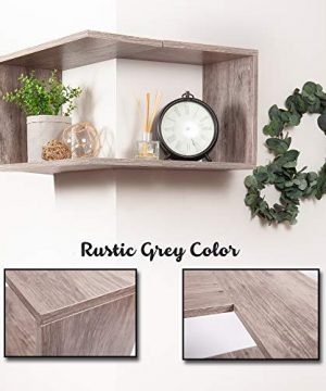 Wooden Floating Corner Shelf Wall Mount Home Dcor Storage Organizer For Hanging In A Bedroom Bathroom Living Room Kitchen Laundry Office Rustic Grey By OHH 0 0 300x360