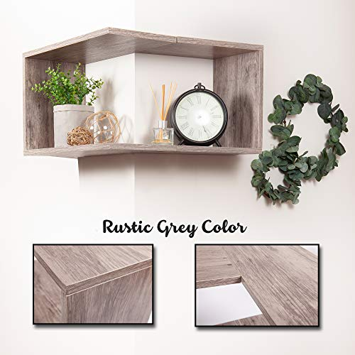 Wooden Floating Corner Shelf Wall Mount Home Dcor Storage Organizer For Hanging In A Bedroom Bathroom Living Room Kitchen Laundry Office Rustic Grey By OHH 0 0