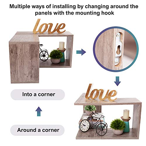 Wooden Floating Corner Shelf Wall Mount Home Dcor Storage Organizer For Hanging In A Bedroom Bathroom Living Room Kitchen Laundry Office Rustic Grey By OHH 0 3