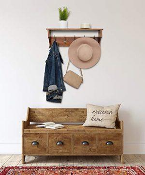 Wooden Rustic Coat Hanger With Shelves Farmhouse Wood Wall Shelf Decor Mounted Coat Rack Shelving Industrial Vintage Style 5 PegsHooks Hallway Living Room Shelf Storage 0 0 300x360