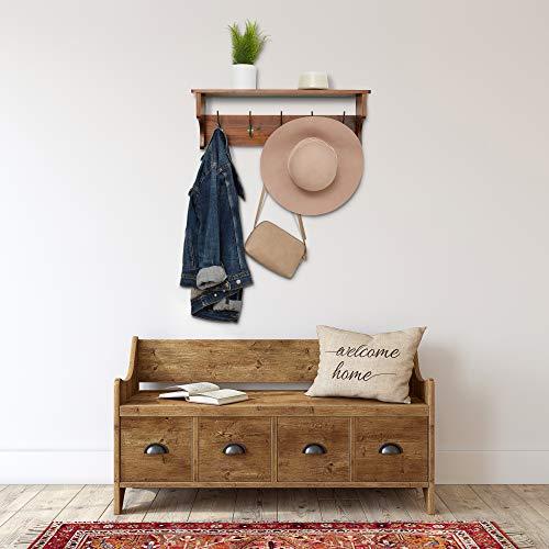 Wooden Rustic Coat Hanger With Shelves Farmhouse Wood Wall Shelf Decor Mounted Coat Rack Shelving Industrial Vintage Style 5 PegsHooks Hallway Living Room Shelf Storage 0 0