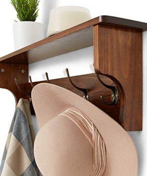 Wooden Rustic Coat Hanger With Shelves Farmhouse Wood Wall Shelf Decor Mounted Coat Rack Shelving Industrial Vintage Style 5 PegsHooks Hallway Living Room Shelf Storage 0 2 300x360