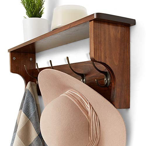 Wooden Rustic Coat Hanger With Shelves Farmhouse Wood Wall Shelf Decor Mounted Coat Rack Shelving Industrial Vintage Style 5 PegsHooks Hallway Living Room Shelf Storage 0 2