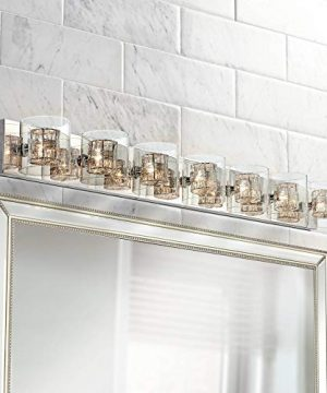 Wrapped Wire Modern Wall Light Polished Chrome Hardwired 56 Wide 7 Light Fixture Clear Glass For Bathroom Vanity Mirror Possini Euro Design 0 300x360