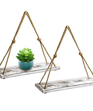 YMe Set Of 2 Wood Hanging Shelves For WallWhite Rope Hanging Shelves With 4 Hooks For Home Wall Decor 17x 6x 07Rustic White Hanging Shelf 0 0 300x360