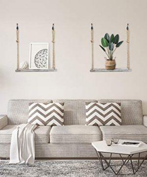YMe Set Of 2 Wood Hanging Shelves For WallWhite Rope Hanging Shelves With 4 Hooks For Home Wall Decor 17x 6x 07Rustic White Hanging Shelf 0 1 300x360