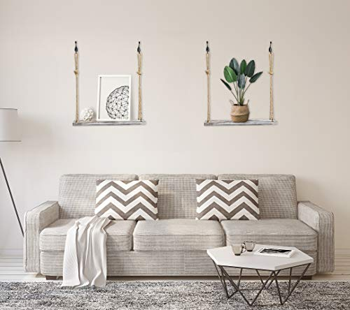 YMe Set Of 2 Wood Hanging Shelves For WallWhite Rope Hanging Shelves With 4 Hooks For Home Wall Decor 17x 6x 07Rustic White Hanging Shelf 0 1