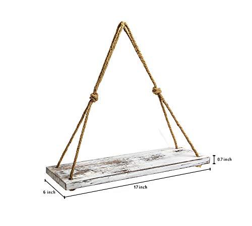 YMe Set Of 2 Wood Hanging Shelves For WallWhite Rope Hanging Shelves With 4 Hooks For Home Wall Decor 17x 6x 07Rustic White Hanging Shelf 0 3