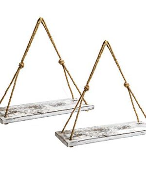 YMe Set Of 2 Wood Hanging Shelves For WallWhite Rope Hanging Shelves With 4 Hooks For Home Wall Decor 17x 6x 07Rustic White Hanging Shelf 0 300x360