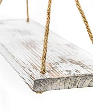 YMe Set Of 2 Wood Hanging Shelves For WallWhite Rope Hanging Shelves With 4 Hooks For Home Wall Decor 17x 6x 07Rustic White Hanging Shelf 0 5 300x360