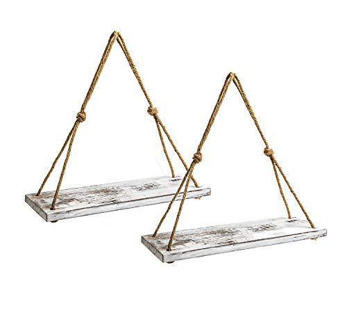 YMe Set Of 2 Wood Hanging Shelves For WallWhite Rope Hanging Shelves With 4 Hooks For Home Wall Decor 17x 6x 07Rustic White Hanging Shelf 0