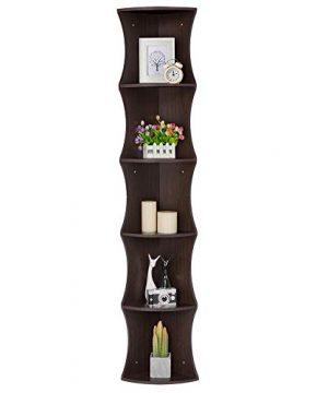 Yaheetech 5 Tier Brown Round Wall Corner Shelf Stand Storage Skinny Display Bookshelf Rack Casual Home Office Furniture 0 300x360