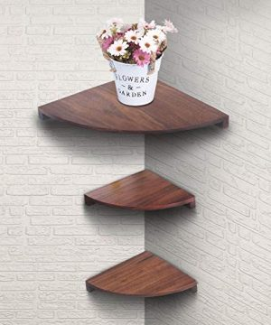 Yankario Solid Walnut Wood Corner Floating Shelves Wall Mounted Set Of 3 Natrual 0 0 300x360