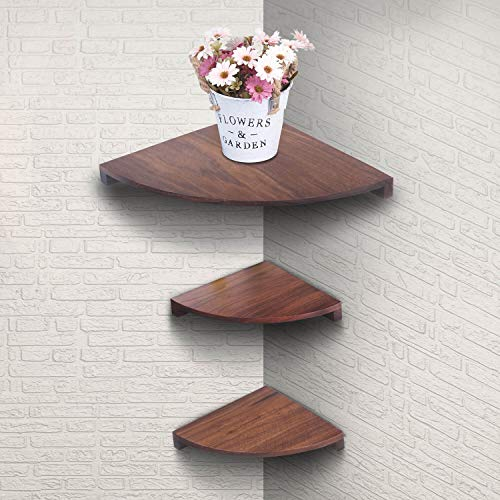Yankario Solid Walnut Wood Corner Floating Shelves Wall Mounted Set Of 3 Natrual 0 0