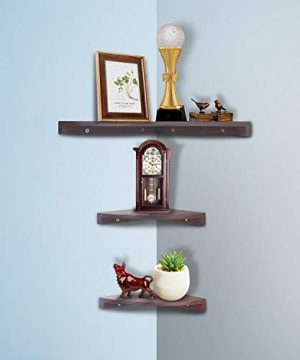 Yankario Solid Walnut Wood Corner Floating Shelves Wall Mounted Set Of 3 Natrual 0 300x360