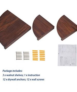 Yankario Solid Walnut Wood Corner Floating Shelves Wall Mounted Set Of 3 Natrual 0 5 300x360