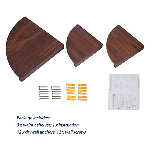 Yankario Solid Walnut Wood Corner Floating Shelves Wall Mounted Set Of 3 Natrual 0 5