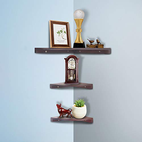 Yankario Solid Walnut Wood Corner Floating Shelves Wall Mounted Set Of 3 Natrual 0