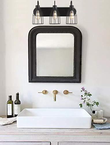 ZZ Joakoah 3 Light Bathroom Vanity Light Industrial Metal Cage Wall Sconce Vintage Wall Lamp Light Fixture For Bathroom Kitchen Living Room Vanity Hallway 0 1